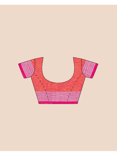 Yellow Pink Ball Buti Khadi Cotton Handloom Saree with Pompom and Blouse Piece-4