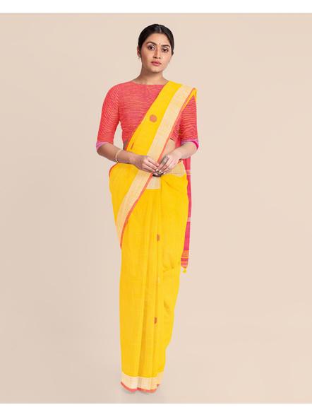 Yellow Pink Ball Buti Khadi Cotton Handloom Saree with Pompom and Blouse Piece-2