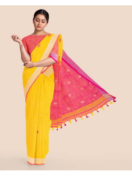 Yellow Pink Ball Buti Khadi Cotton Handloom Saree with Pompom and Blouse Piece-LAAHLSWBP009