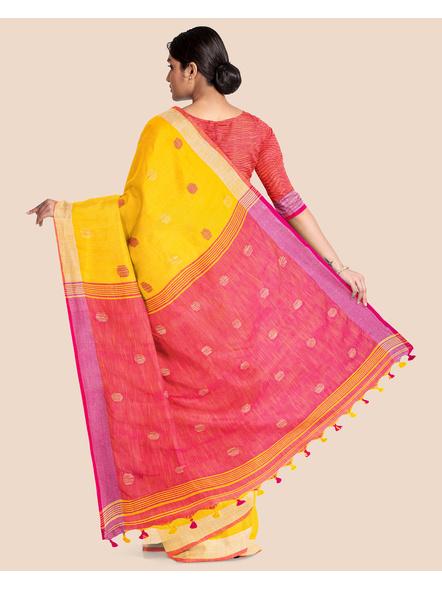 Yellow Pink Ball Buti Khadi Cotton Handloom Saree with Pompom and Blouse Piece-1
