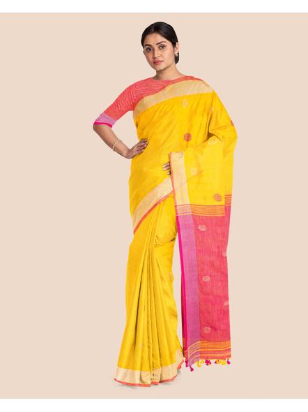Yellow Pink Ball Buti Khadi Cotton Handloom Saree with Pompom and Blouse Piece-3