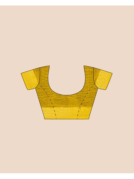 Black Yellow Ball Buti Khadi Cotton Handloom Saree with Pompom and Blouse Piece-4
