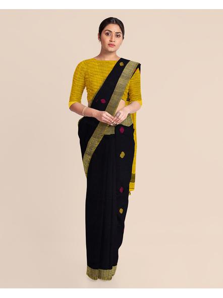 Black Yellow Ball Buti Khadi Cotton Handloom Saree with Pompom and Blouse Piece-2