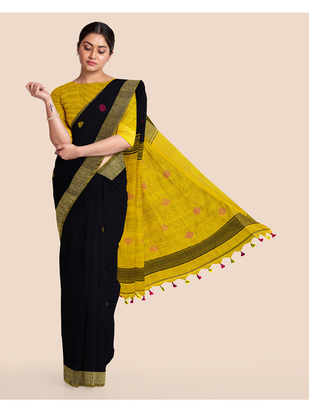 Black Yellow Ball Buti Khadi Cotton Handloom Saree with Pompom and Blouse Piece-LAAHLSWBP010
