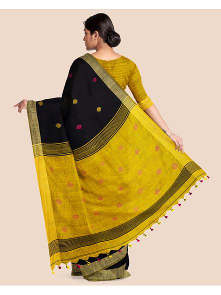 Black Yellow Ball Buti Khadi Cotton Handloom Saree with Pompom and Blouse Piece-1