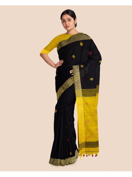 Black Yellow Ball Buti Khadi Cotton Handloom Saree with Pompom and Blouse Piece-3