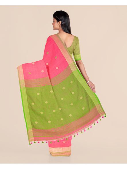 Pink Green Ball Buti Khadi Cotton Handloom Saree with Pompom and Blouse Piece-1