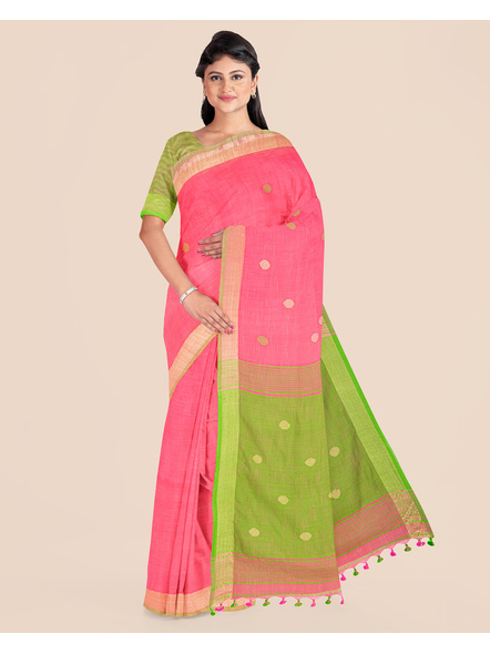 Pink Green Ball Buti Khadi Cotton Handloom Saree with Pompom and Blouse Piece-LAAHLSWBP011
