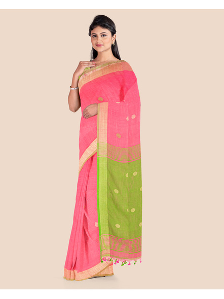 Pink Green Ball Buti Khadi Cotton Handloom Saree with Pompom and Blouse Piece-2