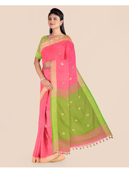 Pink Green Ball Buti Khadi Cotton Handloom Saree with Pompom and Blouse Piece-3