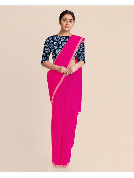 Khadi Handloom Zari Border Saree with Blouse Piece (Fuschia Pink)-2