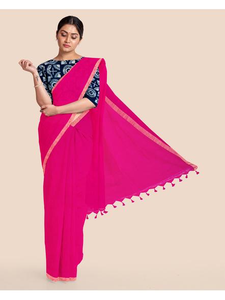 Khadi Handloom Zari Border Saree with Blouse Piece (Fuschia Pink)-LAAKHZBSWBP02