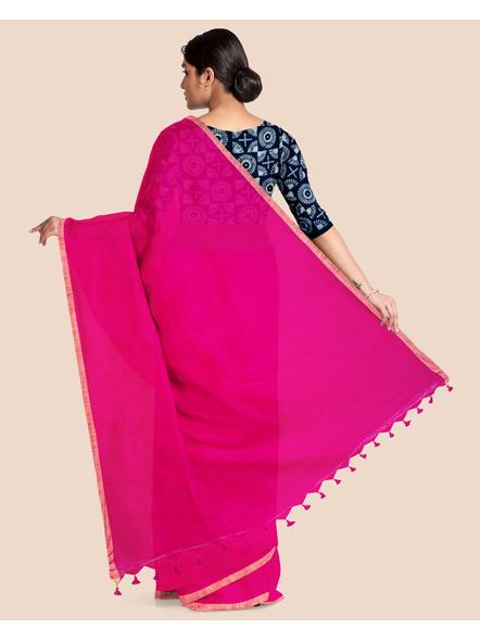 Khadi Handloom Zari Border Saree with Blouse Piece (Fuschia Pink)-1