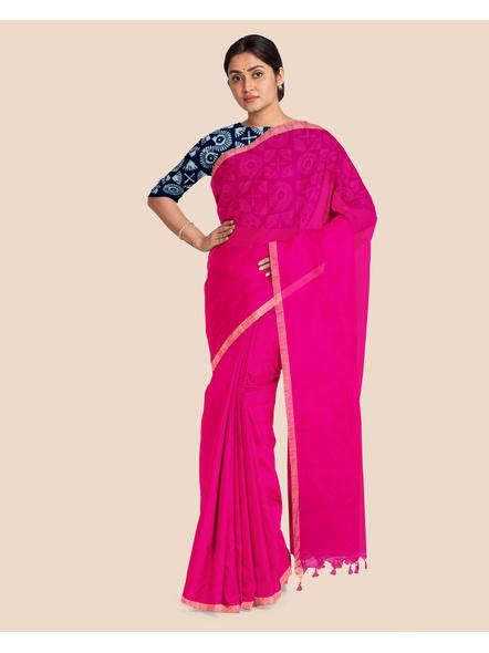 Khadi Handloom Zari Border Saree with Blouse Piece (Fuschia Pink)-3