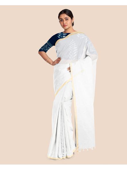 Khadi Handloom Zari Border Saree with Blouse Piece (White)-3
