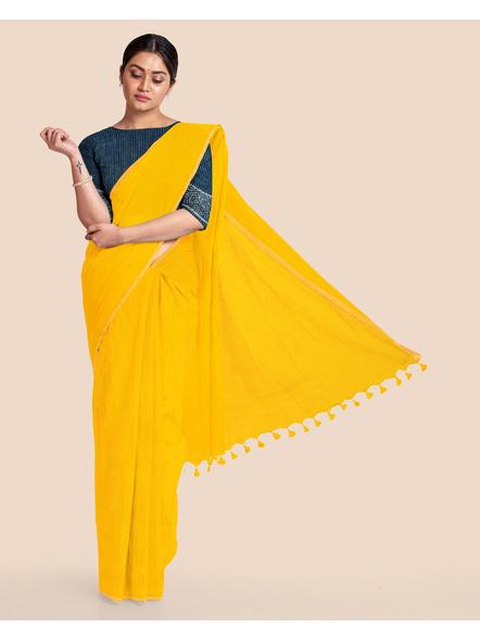 Khadi Handloom Zari Border Saree with Blouse Piece (Yellow)-LAAKHZBSWBP05