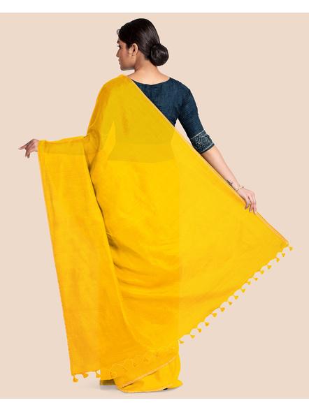 Khadi Handloom Zari Border Saree with Blouse Piece (Yellow)-1