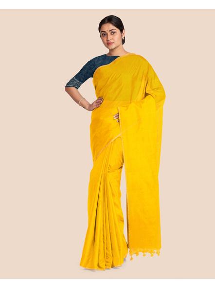 Khadi Handloom Zari Border Saree with Blouse Piece (Yellow)-3