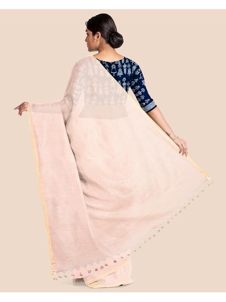 Khadi Handloom Zari Border Saree with Blouse Piece (Beige)-1