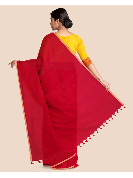 Khadi Handloom Zari Border Saree with Blouse Piece (Red)-1
