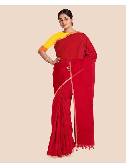 Khadi Handloom Zari Border Saree with Blouse Piece (Red)-3