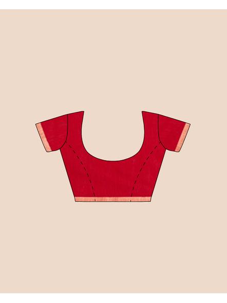 Khadi Handloom Zari Border Saree with Blouse Piece (Red)-4