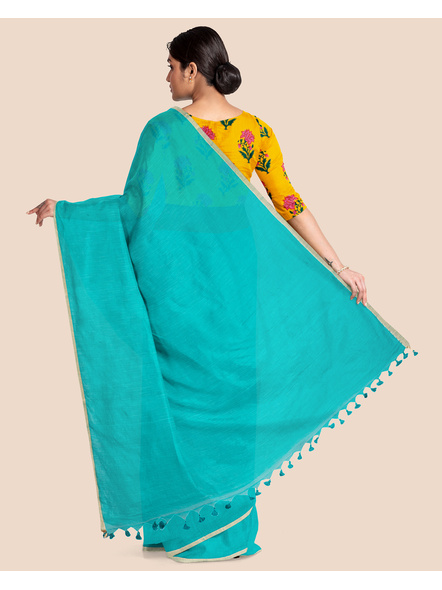 Khadi Handloom Zari Border Saree with Blouse Piece (Teal Green)-1