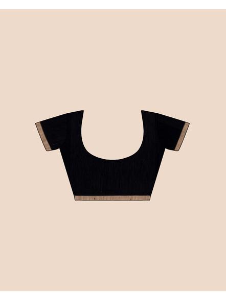 Black Handloom Cotton Silk Noil Zari Border Saree with Blouse Piece-4