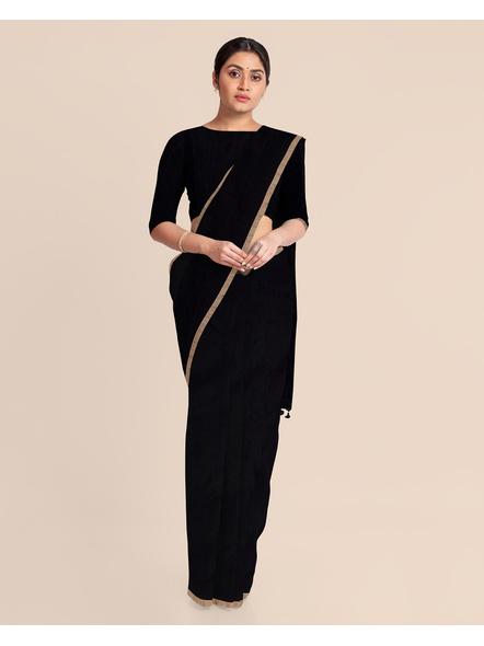 Black Handloom Cotton Silk Noil Zari Border Saree with Blouse Piece-2