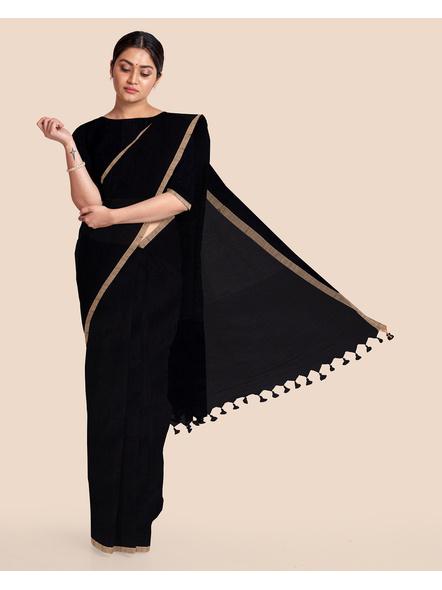 Black Handloom Cotton Silk Noil Zari Border Saree with Blouse Piece-LAACSHS022