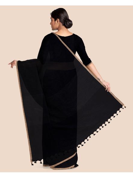 Black Handloom Cotton Silk Noil Zari Border Saree with Blouse Piece-1
