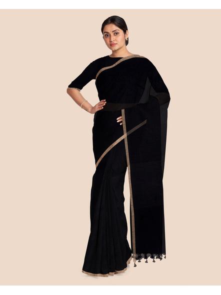 Black Handloom Cotton Silk Noil Zari Border Saree with Blouse Piece-3