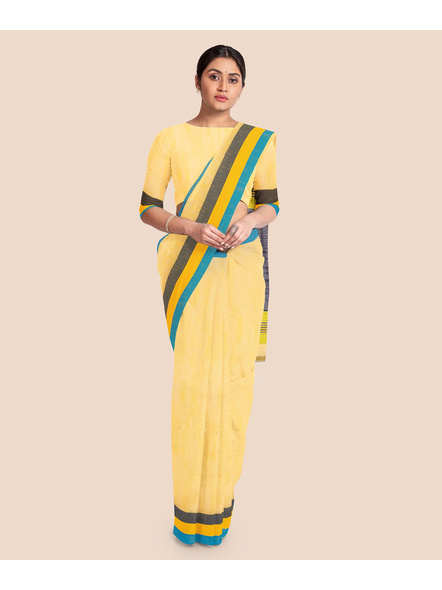 Handloom Noel Pure Cotton Saree with Blouse piece (Yellow)-2
