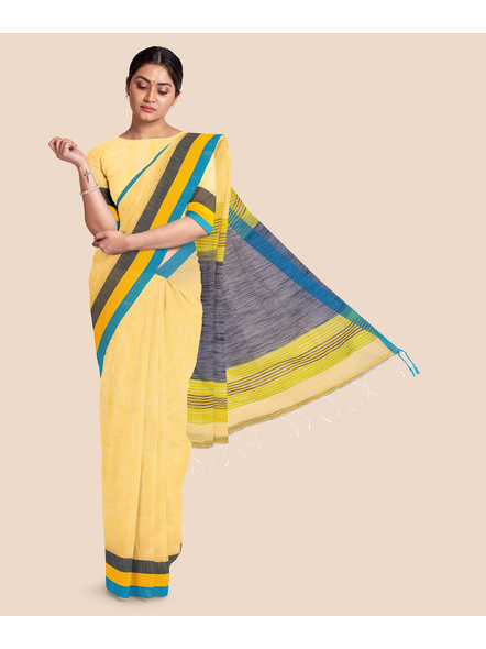 Handloom Noel Pure Cotton Saree with Blouse piece (Yellow)-LAACHS008