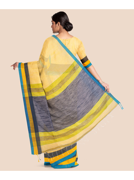 Handloom Noel Pure Cotton Saree with Blouse piece (Yellow)-1