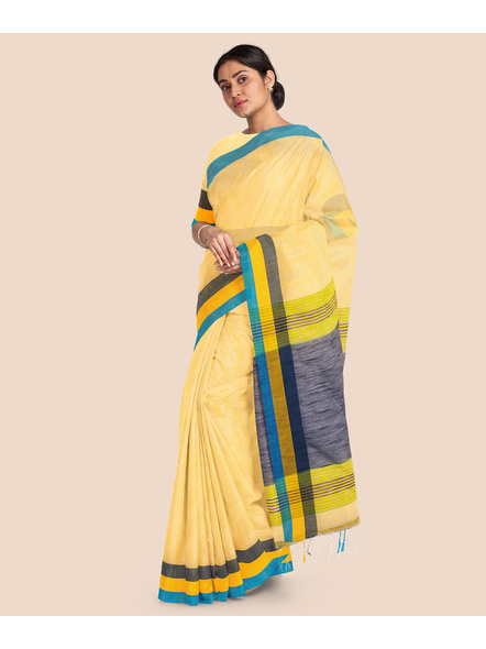 Handloom Noel Pure Cotton Saree with Blouse piece (Yellow)-3