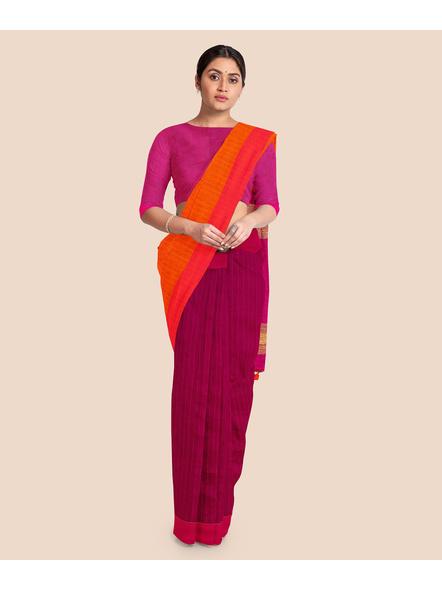 Handloom Pure Cotton Saree with Blouse piece (Magenta)-2