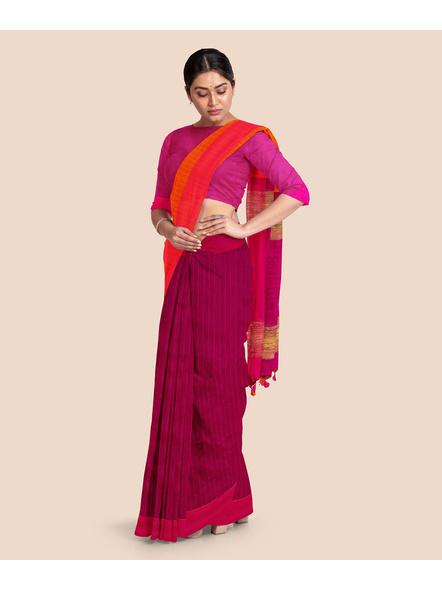 Handloom Pure Cotton Saree with Blouse piece (Magenta)-3