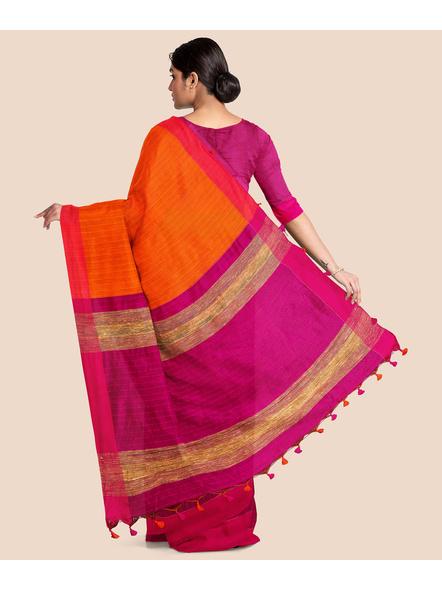 Handloom Pure Cotton Saree with Blouse piece (Magenta)-1