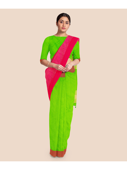 Handloom Pure Cotton Saree with Blouse piece (Green Pink)-2