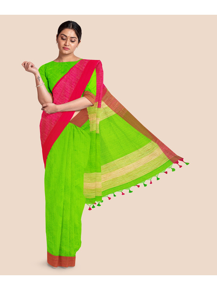 Handloom Pure Cotton Saree with Blouse piece (Green Pink)-LAACHS006