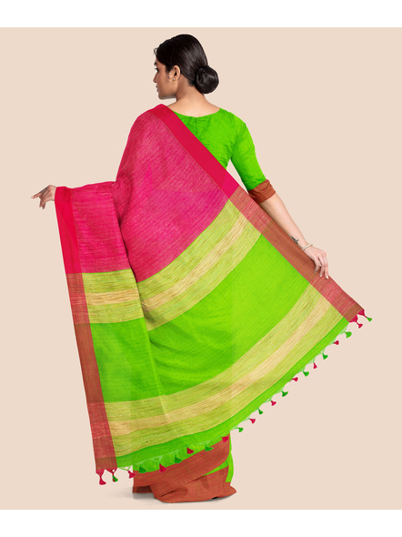 Handloom Pure Cotton Saree with Blouse piece (Green Pink)-1