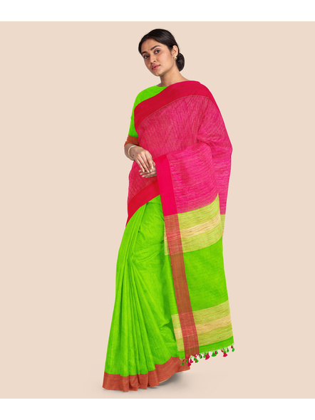 Handloom Pure Cotton Saree with Blouse piece (Green Pink)-3
