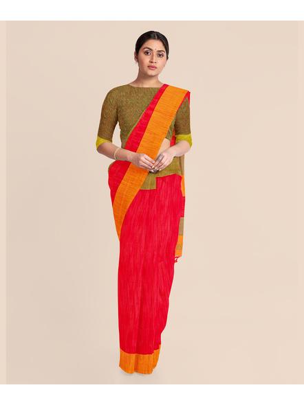 Handloom Pure Cotton Ganga Jamuna Saree with Blouse Piece (Red)-2