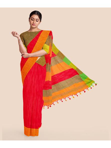 Handloom Pure Cotton Ganga Jamuna Saree with Blouse Piece (Red)-LAACHS011