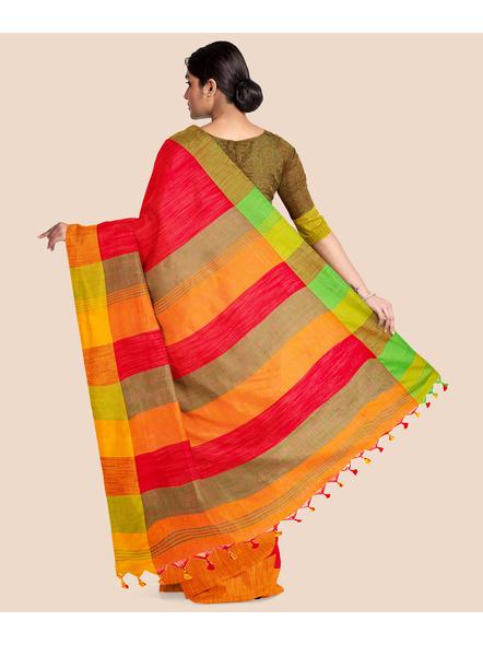 Handloom Pure Cotton Ganga Jamuna Saree with Blouse Piece (Red)-1