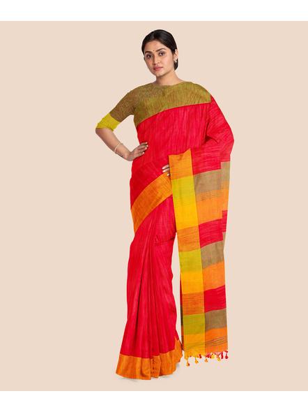 Handloom Pure Cotton Ganga Jamuna Saree with Blouse Piece (Red)-3