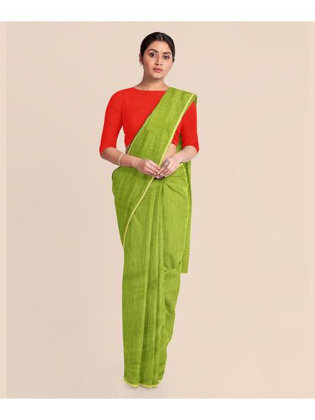 Handwoven Olive Green RAW Silk Saree-2