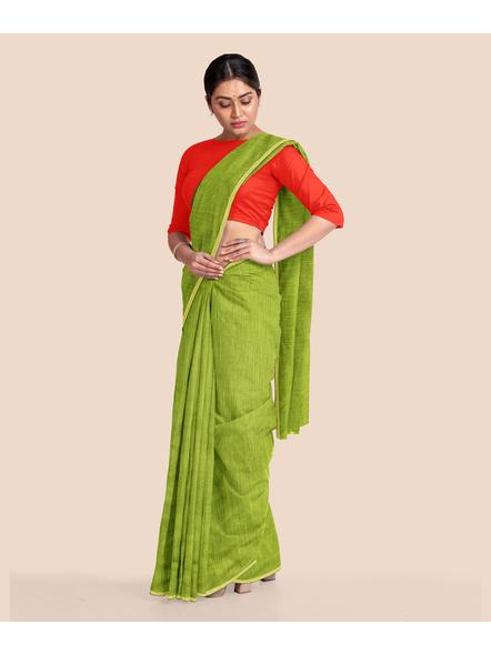 Handwoven Olive Green RAW Silk Saree-4