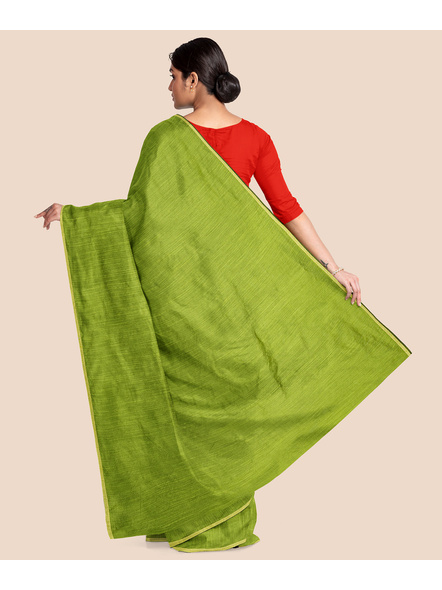 Handwoven Olive Green RAW Silk Saree-1